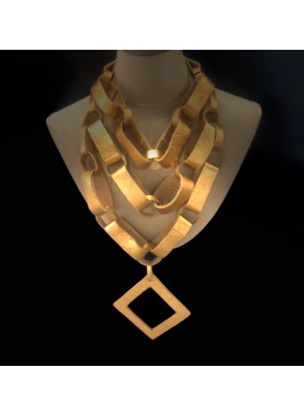 leather necklace gold