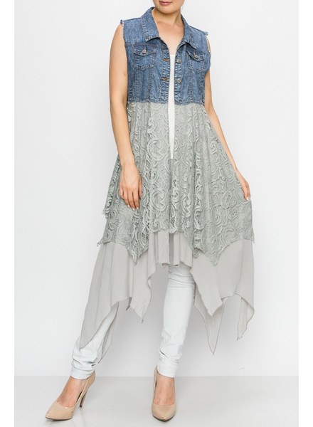 Denim Vest with lace