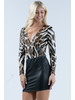 Animal leather faux fabric V neck long sleeves sexy bodysuits