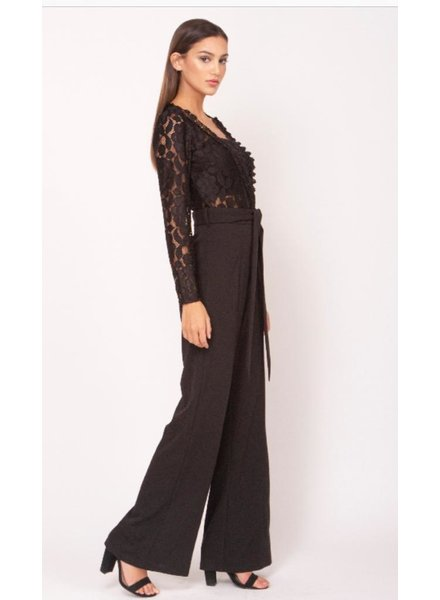 Lace Wrap Top with waist belt jumpsuit