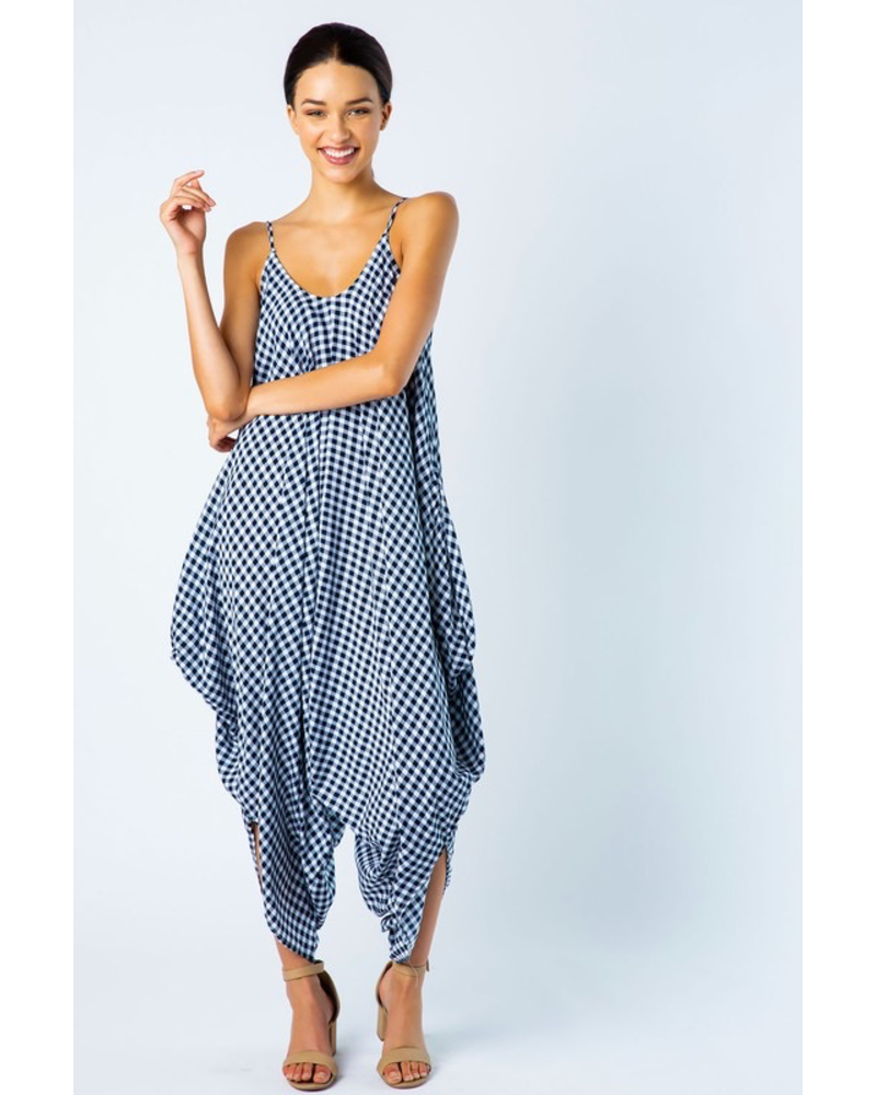 GINGHAM PRINT OPEN SHOULDER HAREM CAPRI JUMPSUIT