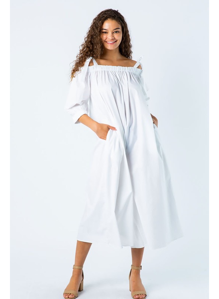 POPLIN OFF SHOULDER WIDE LEG CROPPED JUMPSUIT