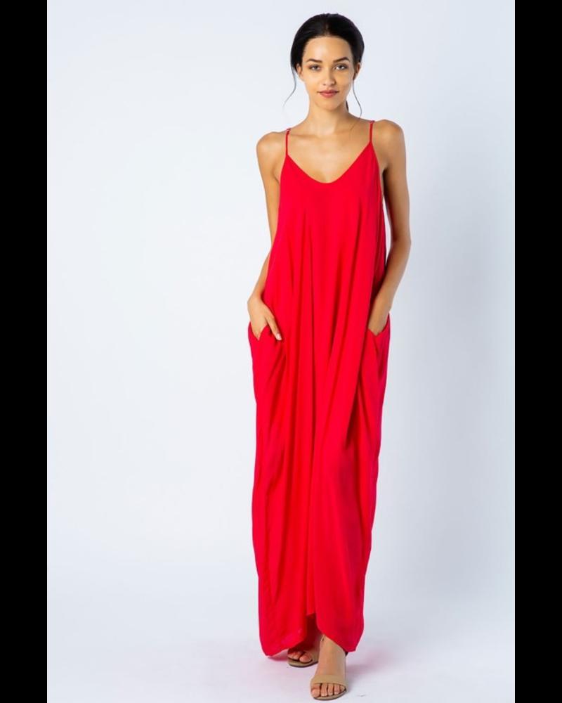 RAYON CHALLIS OPEN SHOULDER HAREM MAXI DRESS