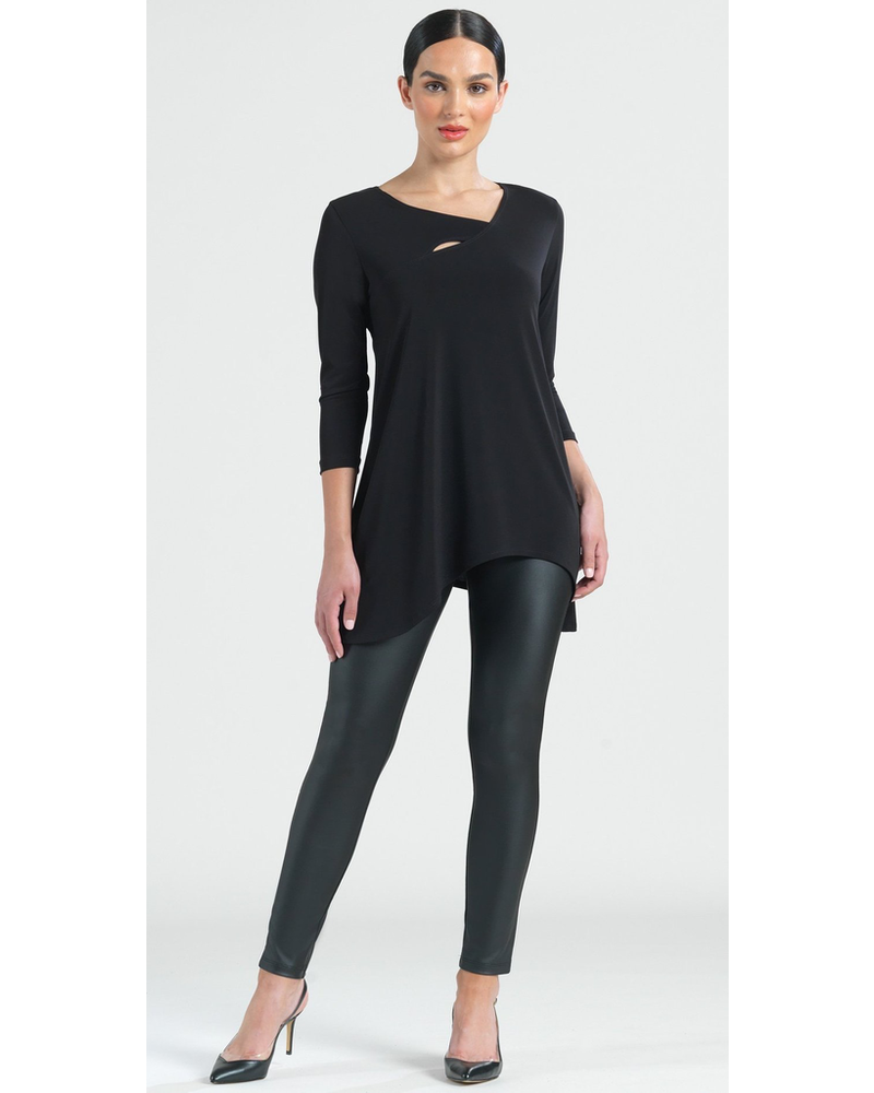 Angle Neckline Cut Out Accent Tunic - Black