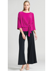 Side Tie 3/4 Length Sleeve Top - Magenta