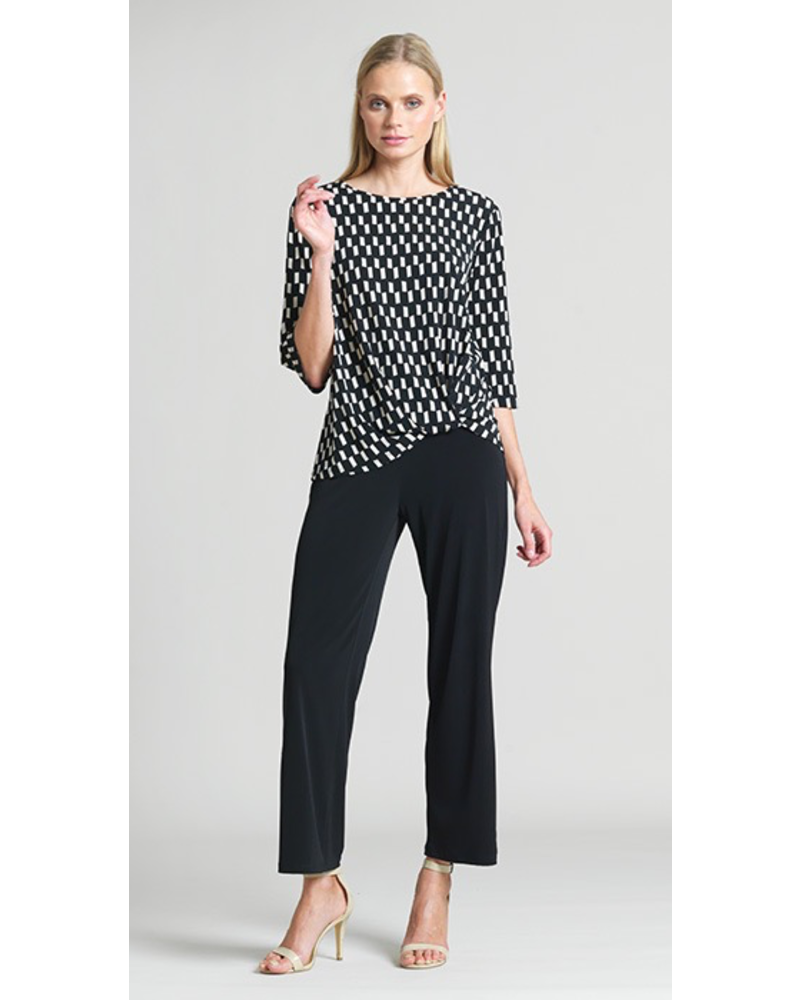 GEO RECTANGLE PRINT TWIST-HEM SOFT KNIT TOP