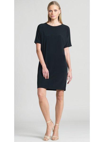 Back Cross Bar V-Cut Out Shift Dress - Black