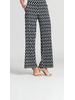 GEO RECTANGLE PRINT STRAIGHT LEG SOFT KNIT PULL-ON PANTS W/ POCKETS