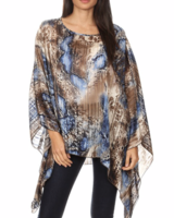 Mixed animal print, sheer top with a round neckline and an asymmetric hem
