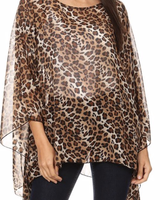 Leopard print, sheer top with a round neckline and an asymmetric hem