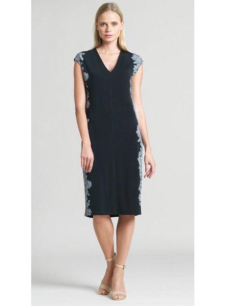 Lace Trim Print Silhouette V-Neck Dress