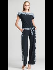 Lace Trim Print Cap Sleeve Tie Top