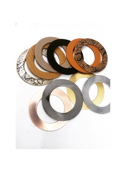 Metal & Leather Flat Bangles