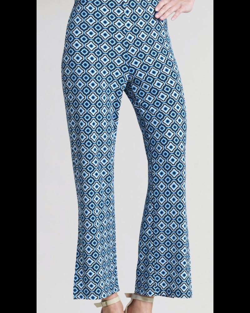Tile Print Side Slit Ankle Pant - Navy/White