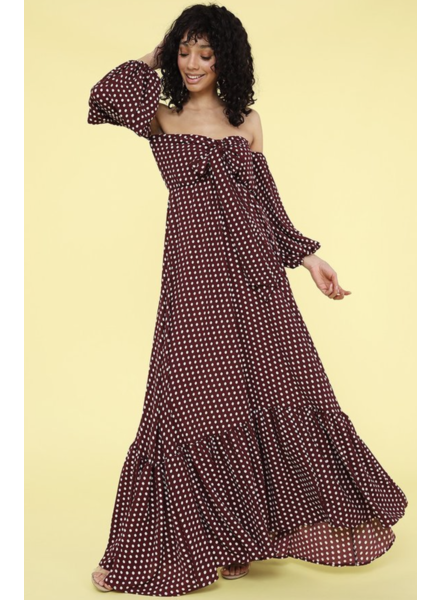 Polka dot off shoulder maxi dress with long bishop sleeves and pockets.