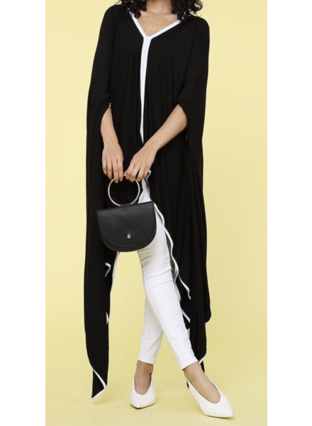 ALL Solid loose fit poncho with an asymmetrical hem, color blocking, and v-neckline POLY/SPDX
