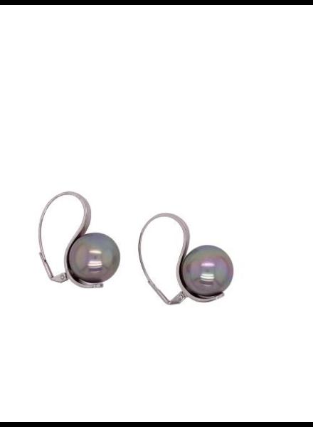 Grey Pearl Silver Earrings