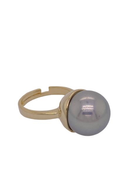 Grey Pearl gold Ring