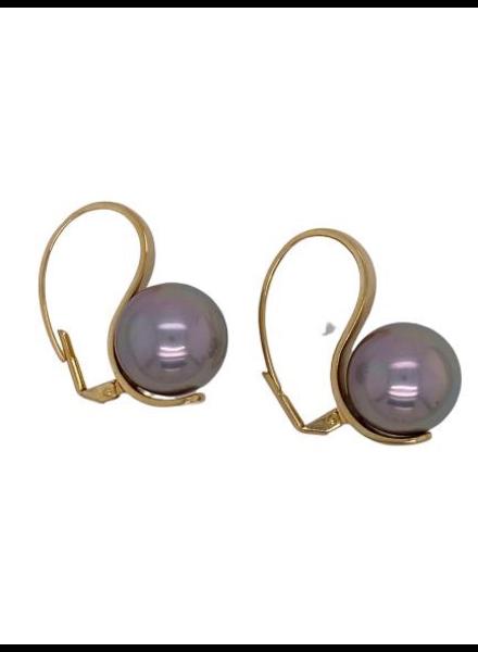 Grey pearl gold earrings