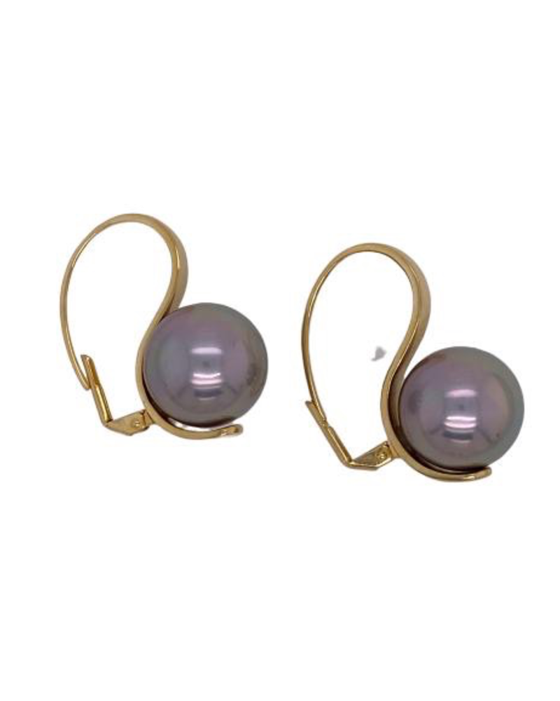 Grey pearl gold earrings