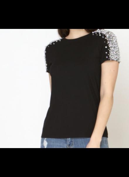 shoulder pearl embellishment black