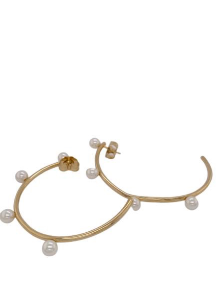 pearl Gold Loops