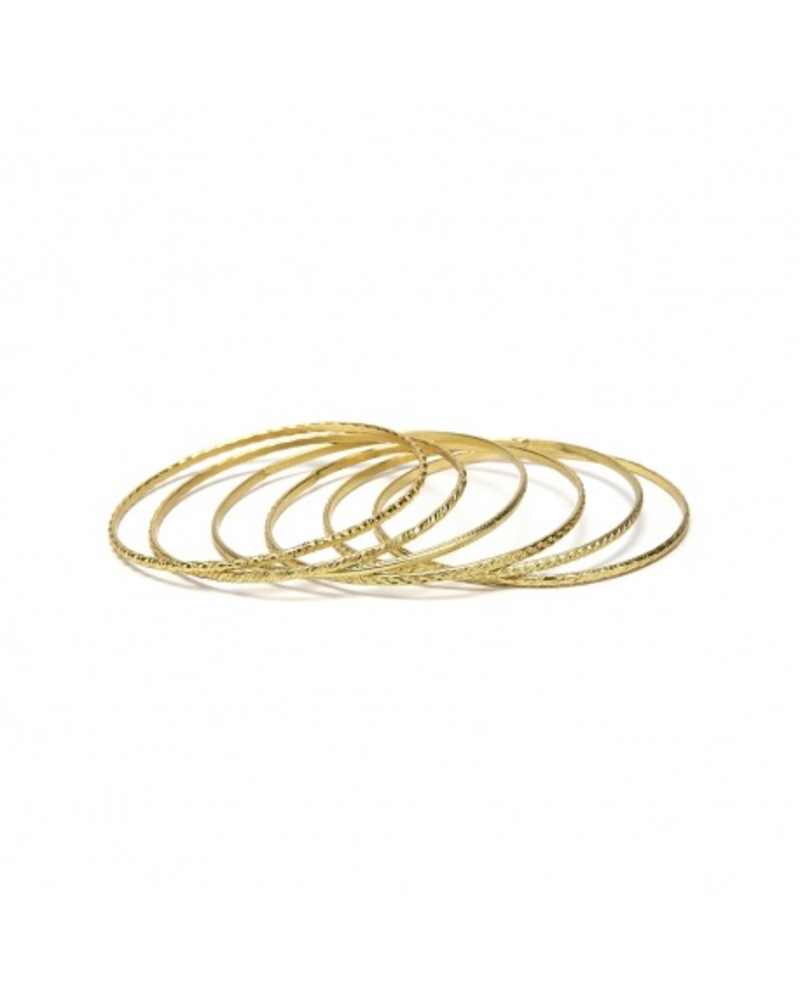 BANGLE BRACELET 6 PCS. THIN MIX