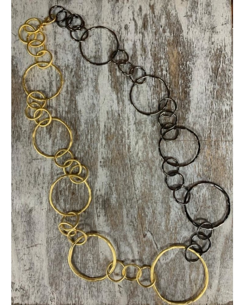 circle necklace silver and gold
