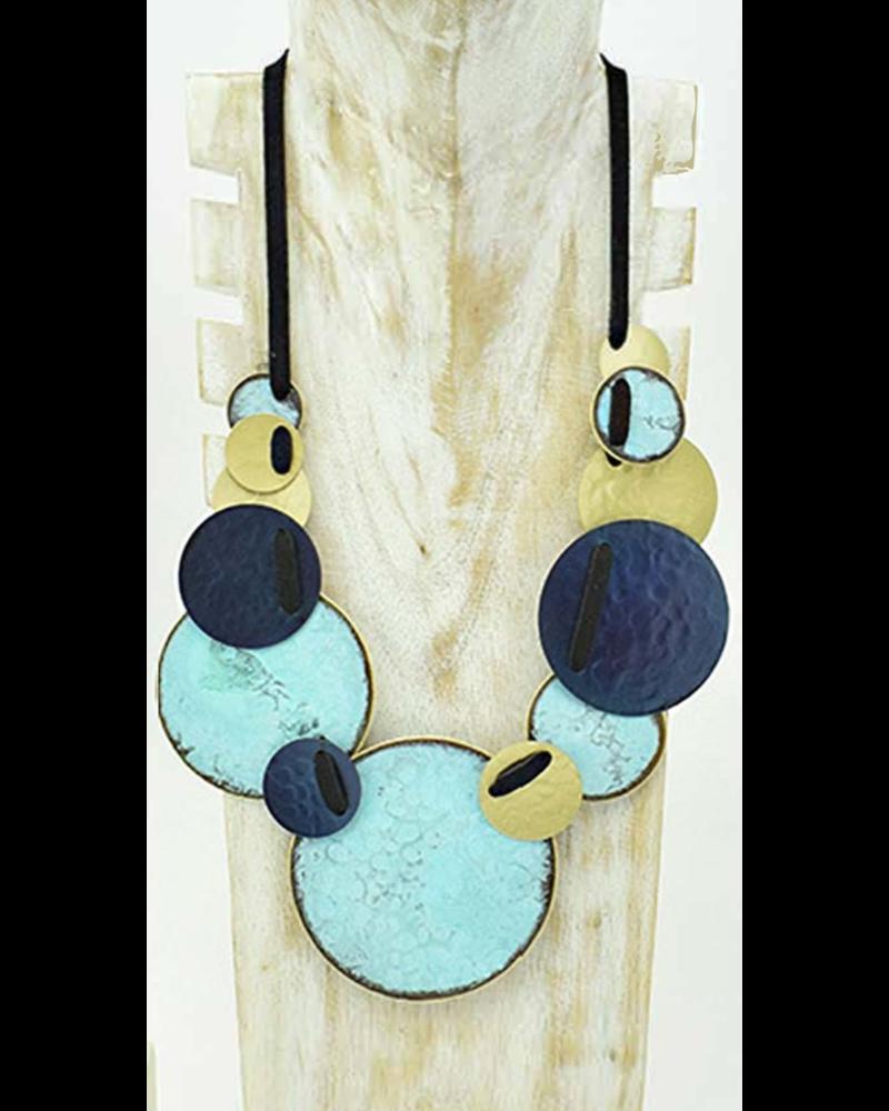collar circular en bronze azul pavo