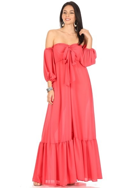 solid color  off shoulder maxi dress