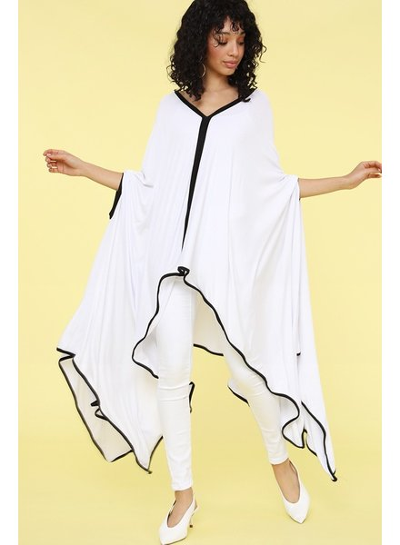 ALL Solid loose fit poncho with an asymmetrical hem<br /> one size