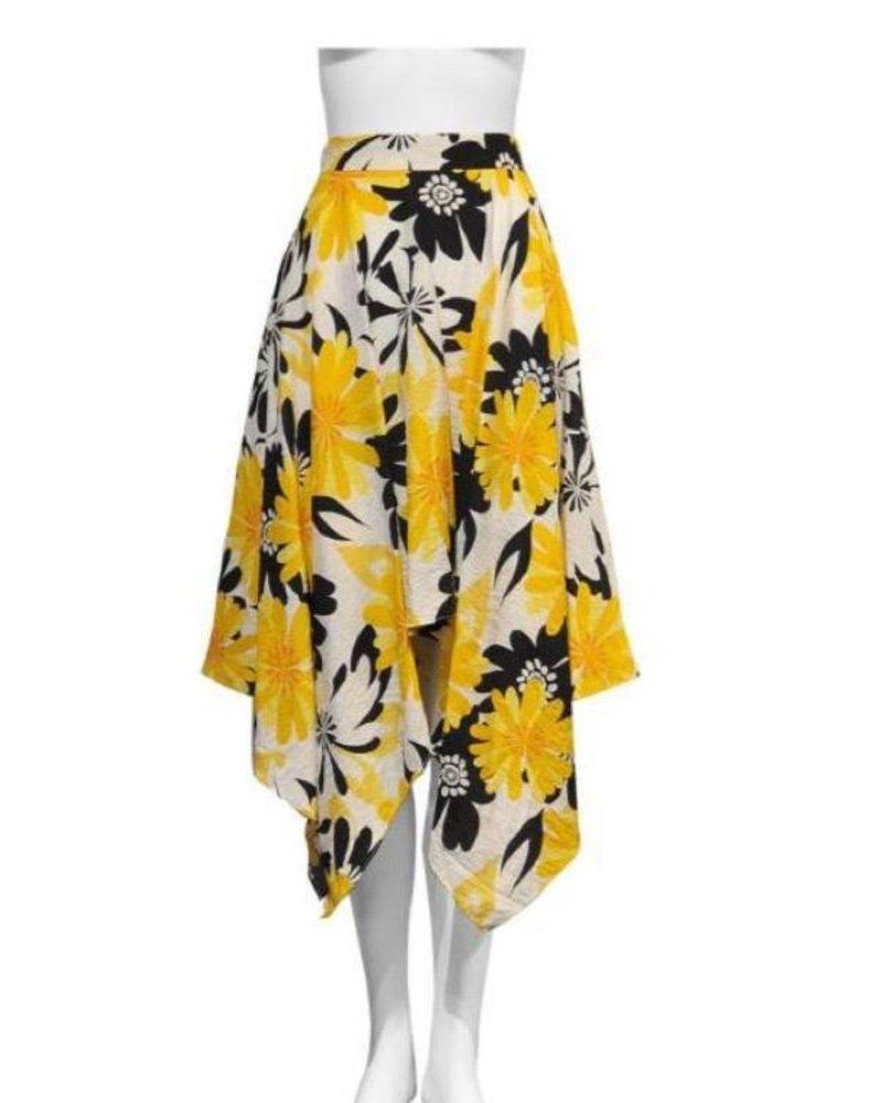 yellow printed shark bite skirt