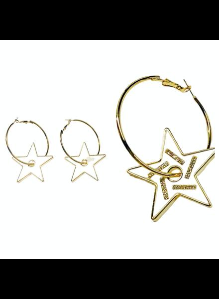 White/Gold Star Earrings