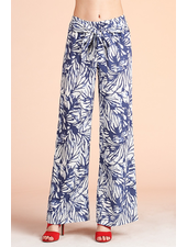 Watercolor Leaf Print Wide Leg Pants