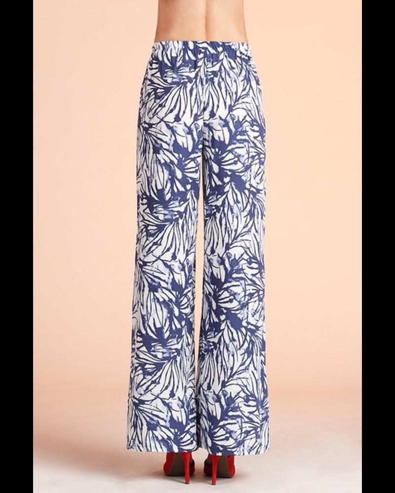 Watercolor Leaf Print Wide Leg Pants