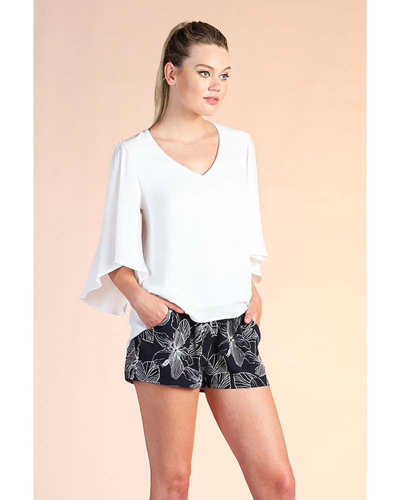 Crinkle Solid Petal Sleeve Top