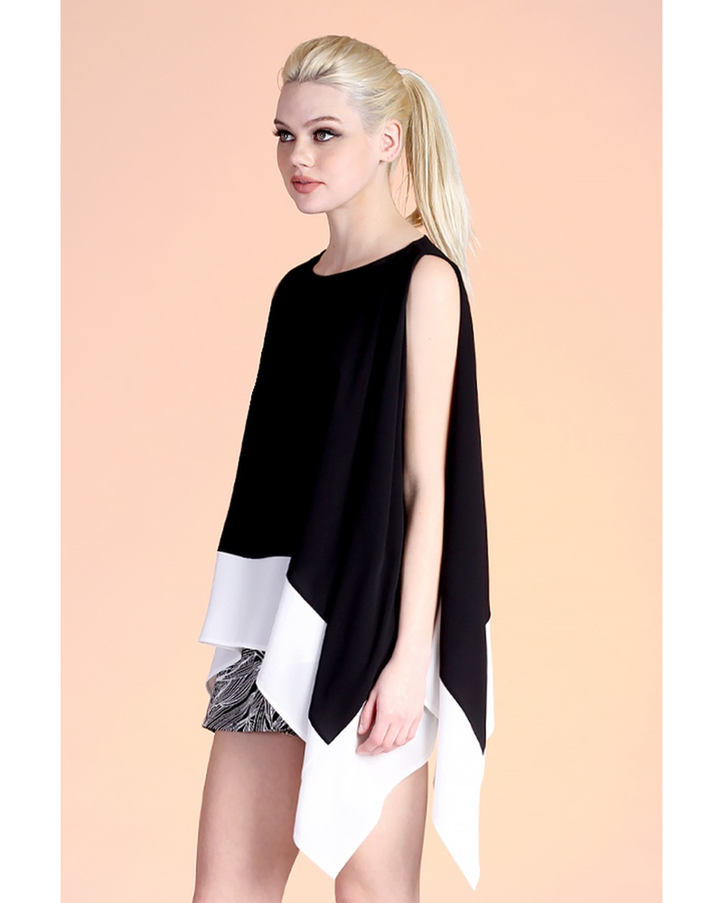 Textured Solid Color Block Swing Top