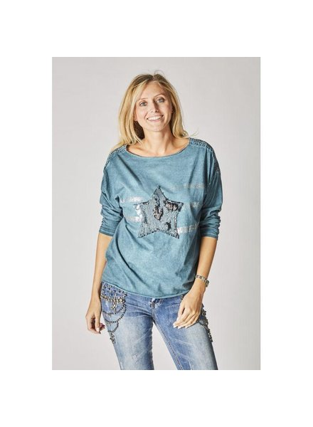 LONG SLEEVES T-SHIRT WITH SEQUINS STAR