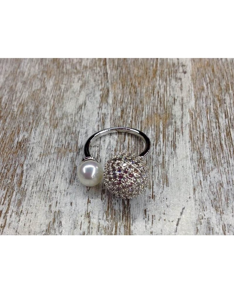 gold plated pearl and pave ring