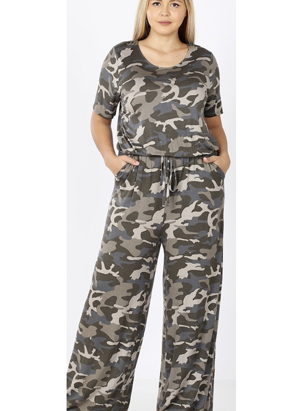 PLUS SHORT SLEEVE CAMOUFLAGE PRINT JUMPSUIT