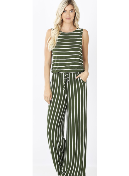 STRIPE SLEEVELESS JUMPSUIT WITH POCKE