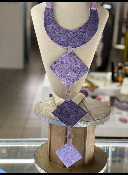 Metallic Lavender Leather Necklace