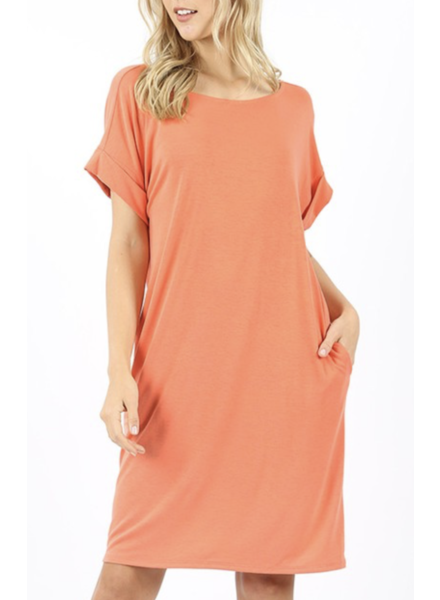 SHORT SLEEVE ROUND NECK DRESS Coral