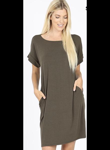 SHORT SLEEVE ROUND NECK DRESS Dark Olive