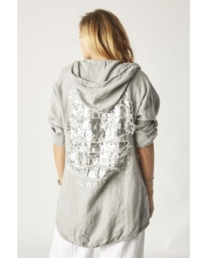 linen jacket with silver writing o back