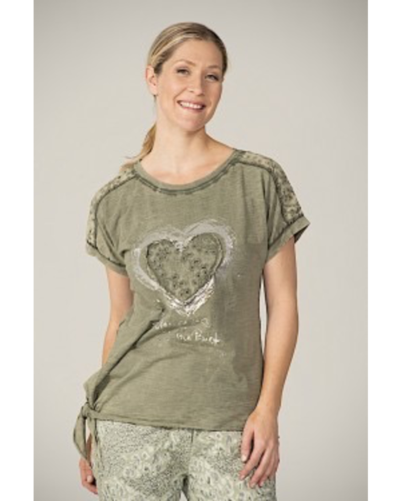 T SHIRT SILVER HEART AND EMBROIDERY