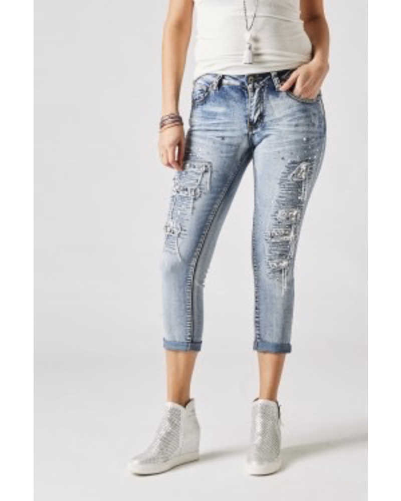 JEANS PANTS WITHS TONES AND DETAILS
