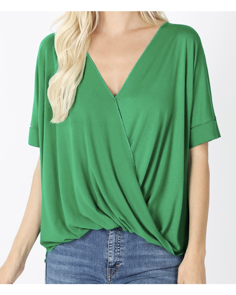 LAYERED-LOOK DRAPED FRONT TOP