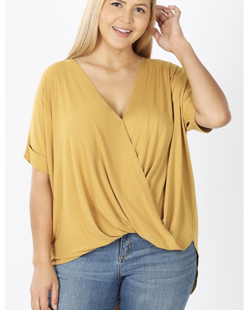 PLUS RAYON SPAN CREPE LAYERED-LOOK TOP