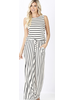 STRIPE SLEEVELESS JUMPSUIT WITH POCKET